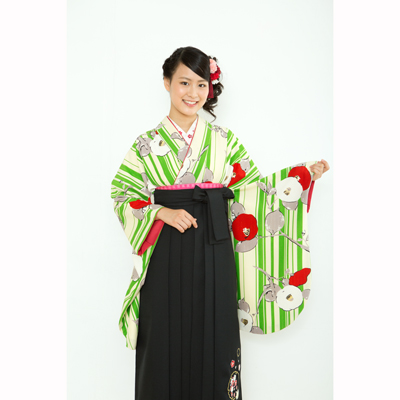 画像1: 【卒業衣装】  縞椿(緑) (1)