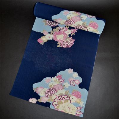 画像1: 【浴衣反物】【TEIJIN AEROCAPSULE】合繊 紺雲取り (1)