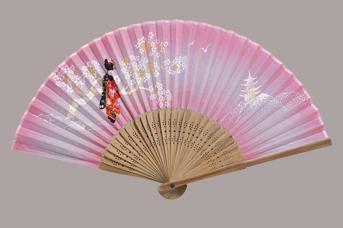 画像1: 【扇子】 和柄扇子  舞妓(ピンク) (1)