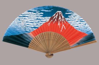 画像1: 【扇子】 和柄扇子  北斎赤富士 (1)