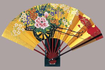 画像1: 【飾り扇】 金地飾り扇子  花車 (1)