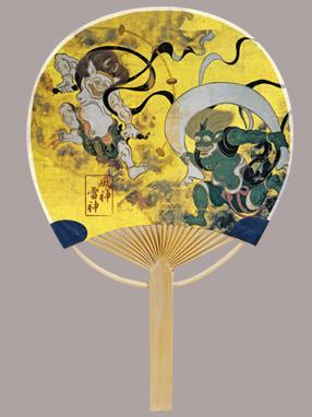 画像1: 【うちわ】【伝統の美】 ミニ竹うちわ  風神雷神 (1)