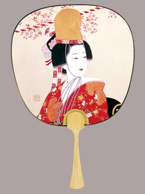 画像1: 【うちわ】【美人画】 中型うちわ  光園美人(桜) (1)