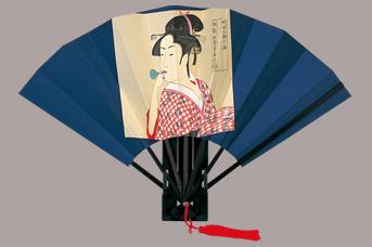 画像1: 【版画扇】【歌麿美人画】  歌麿ビードロ (1)