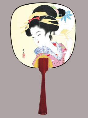 画像1: 【うちわ】【美人画】 豆うちわ  寿美美人(うちわ) (1)