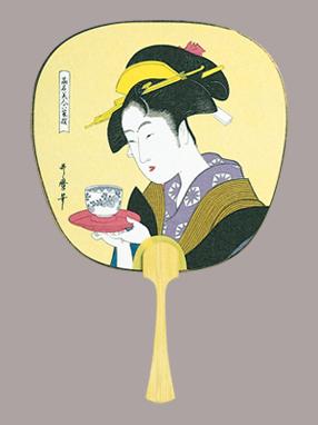 画像1: 【うちわ】【美人画】 中型うちわ  お茶美人(おきた) (1)
