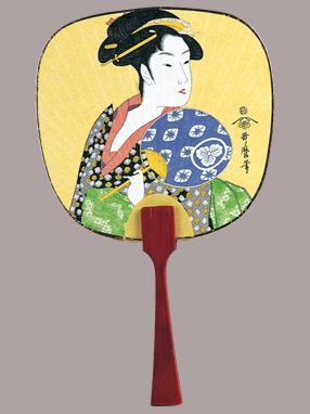 画像1: 【うちわ】【美人画】 豆うちわ  うちわ美人(おひさ) (1)