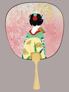 画像1: 【うちわ】【美人画】 中型うちわ  京舞妓 (1)