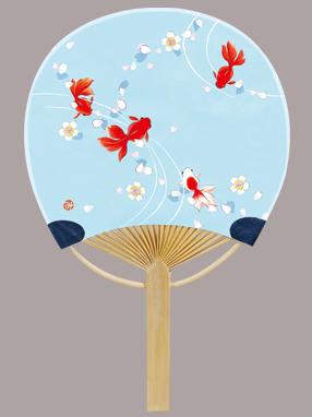 画像1: 【うちわ】【日本の夏】 ミニ竹うちわ  夢金魚 (1)