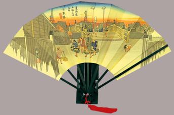 画像1: 【版画扇】【広重東海道五十三次】  広重日本橋 (1)