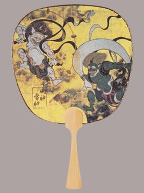 画像1: 【うちわ】【伝統の美】 中型うちわ  風神雷神 (1)