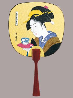 画像1: 【うちわ】【美人画】 豆うちわ  お茶美人(おきた) (1)