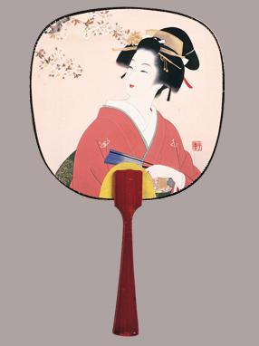 画像1: 【うちわ】【美人画】 豆うちわ  光園美人(扇子) (1)
