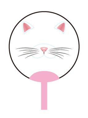 画像1: 【うちわ】【Face Fan】 透明フェイスうちわ  ネコ (1)