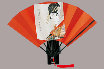 画像1: 【版画扇】【歌麿美人画】  歌麿花扇 (1)