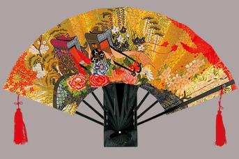 画像1: 【飾り扇】 金地飾り扇子  御所車 (1)