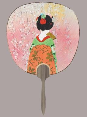 画像1: 【うちわ】【美人画】 都うちわ  京舞妓 (1)
