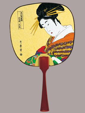 画像1: 【うちわ】【美人画】 豆うちわ  五明楼花扇 (1)