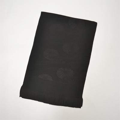 画像1: 【喪服用小物】 喪服用帯揚げ 黒綸子 (1)