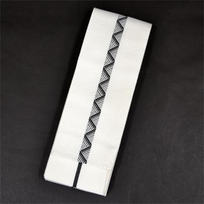 画像1: [角帯] ポリエステル角帯 八島 (白×黒) (1)