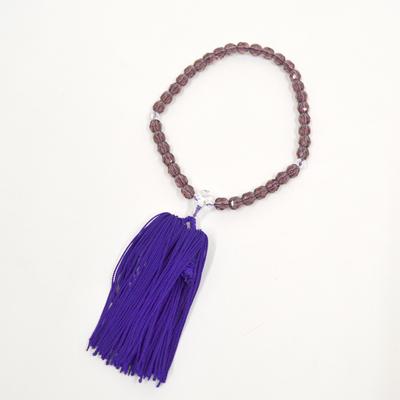 画像1: 【御念珠】 婦人用 紫並切子 片手松房(化粧箱入) (1)