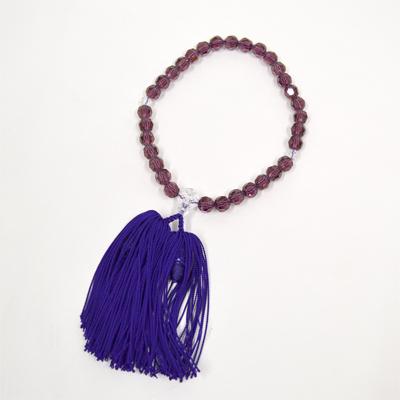 画像1: 【御念珠】 婦人用 紫上切子 片手松房(化粧箱入) (1)