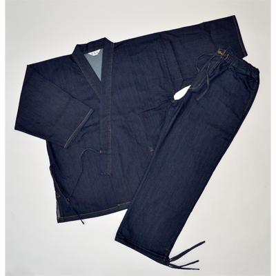 画像1: [紳士作務衣] ストレッチデニム作務衣 (濃紺) (1)