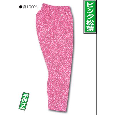 画像1: 【江戸一】 ゴム股引(柄) ピンク松葉 子供用 (1)