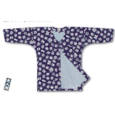 画像1: 【江戸一】 鯉口シャツ(柄) 紺まとい裏付 大人用 (1)