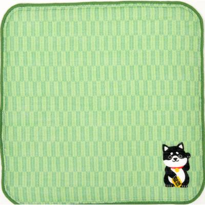 画像1: [ハンカチ]日本の縁起招き タオルはんかち 柴犬グリーン (1)