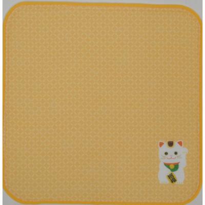 画像1: [ハンカチ]日本の縁起招き タオルはんかち 招き猫オレンジ (1)