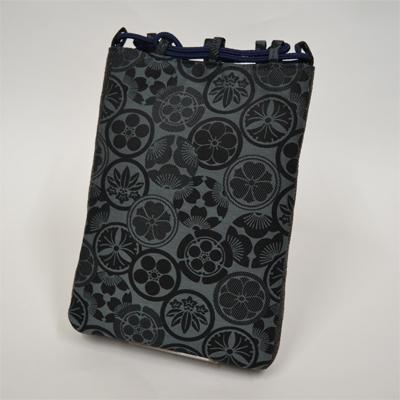 画像1: 【信玄袋】 信玄袋・マチ付 家紋柄 紺 (1)