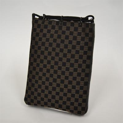 画像1: 【信玄袋】 正絹信玄袋・マチ付 御召市松柄 黒 (1)