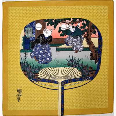 画像1: [ハンカチ]国芳の浮世絵ハンカチ 「猫の曲まり団扇」 カラシ (1)