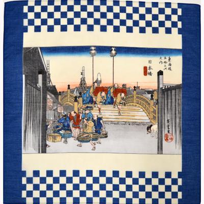 画像1: [ハンカチ]広重の浮世絵ハンカチ 「日本橋」 アオ (1)