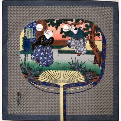 画像1: [ハンカチ]国芳の浮世絵ハンカチ 「猫の曲まり団扇」 グレー (1)