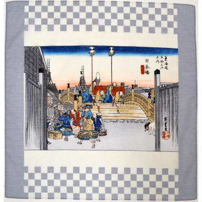画像1: [ハンカチ]広重の浮世絵ハンカチ 「日本橋」 グレー (1)