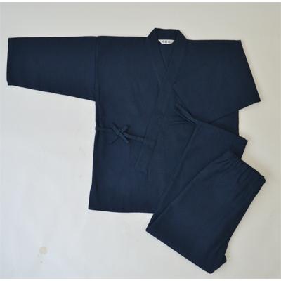 画像1: [紳士作務衣] 紳士スラブ織作務衣 (紺) (1)