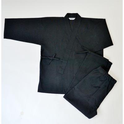 画像1: [紳士作務衣] 紳士スラブ織作務衣 (黒) (1)