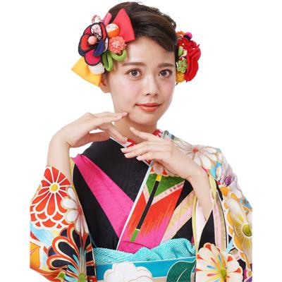 画像1: 【髪飾り】【Charmant】成人式/花かんざし(3色展開)【2点セット】 (1)