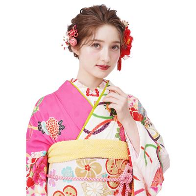 画像1: 【髪飾り】【Charmant】成人式/花かんざし(3色展開)【3点セット】 (1)