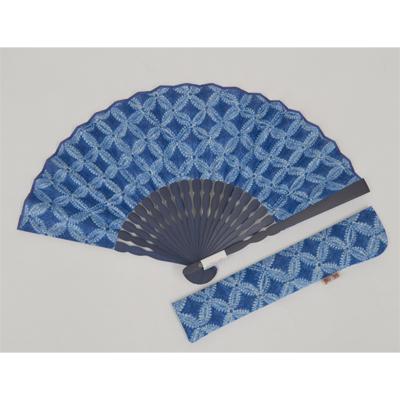 画像1: 【母の日企画商品】【楽風】【扇子】 扇子セット(扇子&差し袋)藍色染 七宝  (1)