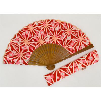 画像1: 【母の日企画商品】【楽風】【扇子】 扇子セット(扇子&差し袋)なごみ麻の葉 赤  (1)