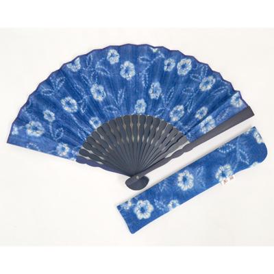 画像1: 【母の日企画商品】【楽風】【扇子】 扇子セット(扇子&差し袋)藍色染 花  (1)