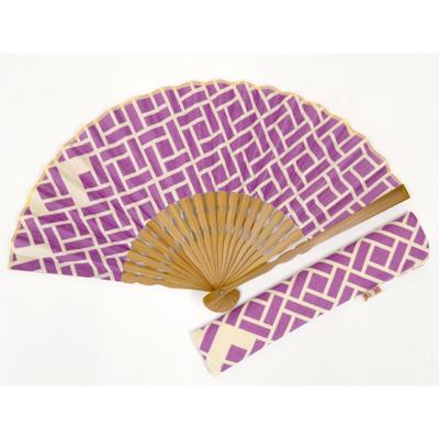 画像1: 【母の日企画商品】【楽風】【扇子】 扇子セット(扇子&差し袋)幾何学 紫  (1)