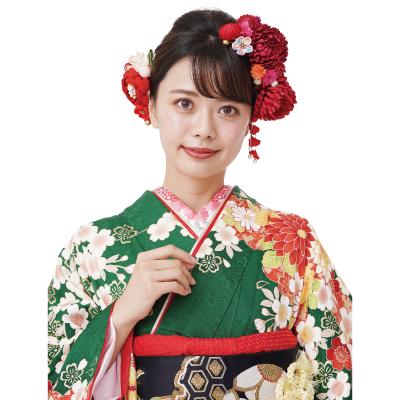 画像1: 【髪飾り】【Charmant】成人式/花かんざし(12色展開)【4点セット】 (1)