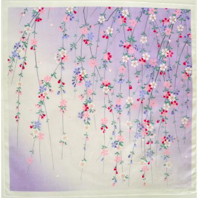 画像1: 【ガーゼハンカチ】大判ソフトガーゼハンカチ しだれ桜(ウスフジ) (1)