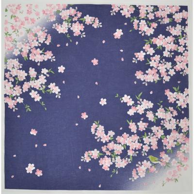 画像1: [ハンカチ]【四季の風物詩】 桜とうぐいす (紺) (1)