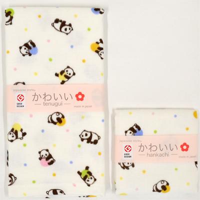 画像1: 【japanese style】【かわいい】ころんだぱんだ[やわらかガーゼのてぬぐい・ハンカチ] (1)