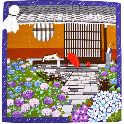 画像1: 【小風呂敷】【三毛猫みけの夢日記】 6月あじさい (1)